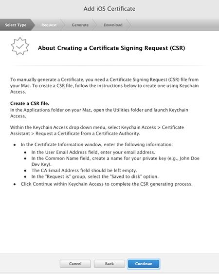ios certificate 証明書を作ってみる